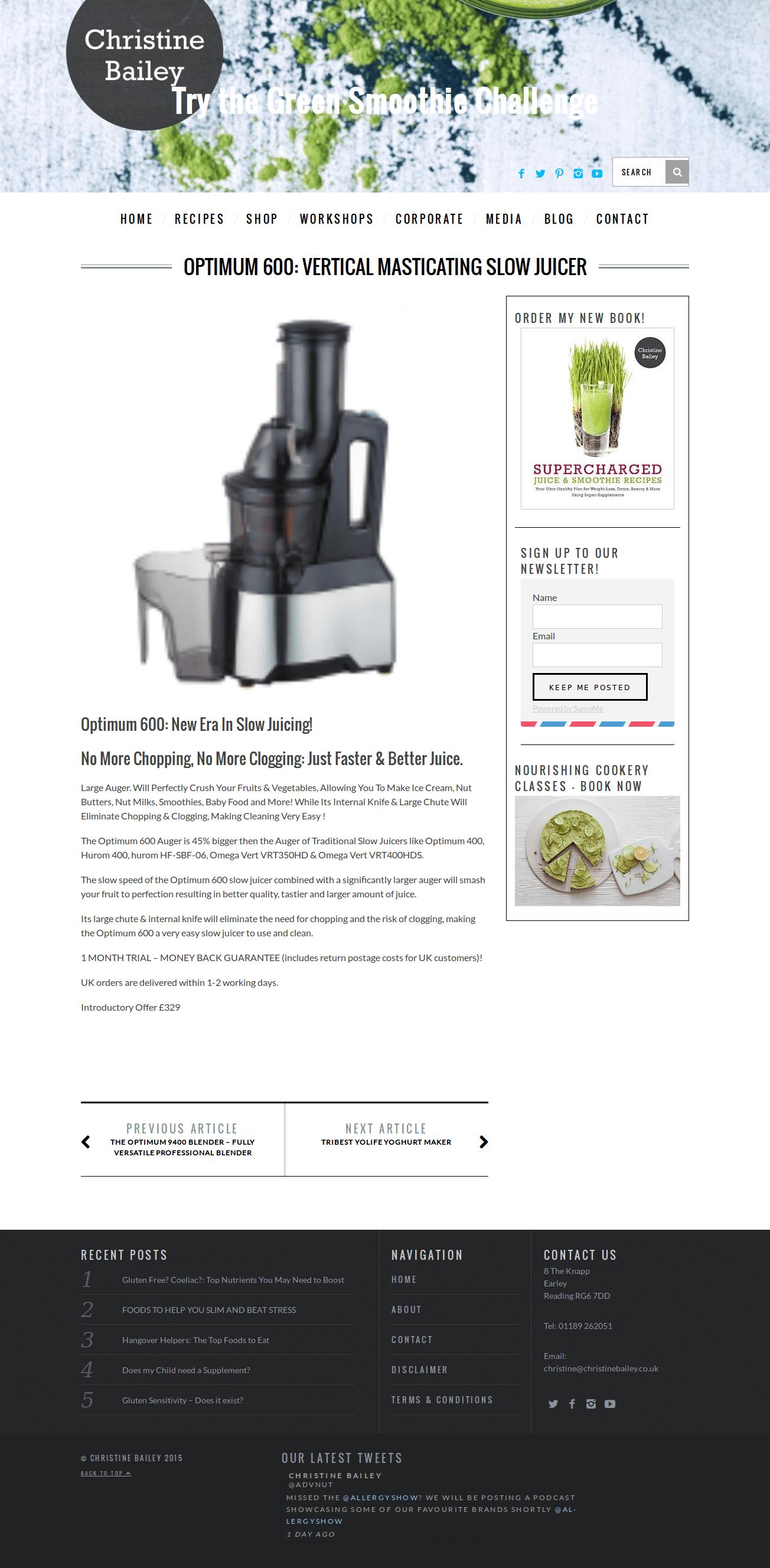 Optimum 400 Slow Juicer Review : Slow juicers :: Optimum 600 : 2016 Best Selling Slow Juicer Large Chute, No Prep, Delicious Juice.